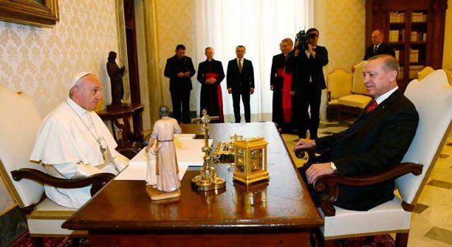 Erdoğan ile Papa'dan Filistin görüşmesi