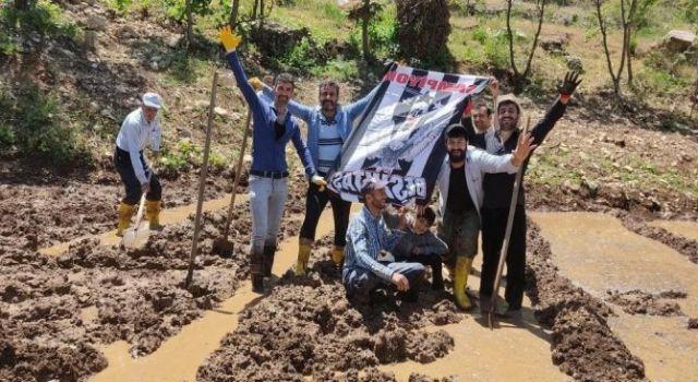 Hakkari'de pirinç tarlasında Beşiktaş kutlaması